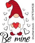 be mine valentines day gnome | Shutterstock .eps vector #1879704928
