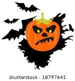 cartoon pumpkin on a white...   Shutterstock . vector #18797641