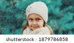 Winter Portrait Of Little Girl...