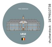 Prince-Bishops Palace in Liege, Belgium. Architectural symbols of European cities. Colorful vector