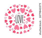 cute valentine's day card with... | Shutterstock .eps vector #1879843375