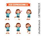 cute little kid girl in various ... | Shutterstock .eps vector #1879882315