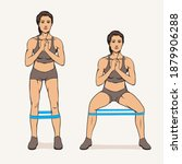 athletic woman doing side steps ...   Shutterstock .eps vector #1879906288
