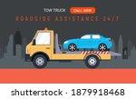 car tow truck accident roadside ... | Shutterstock .eps vector #1879918468