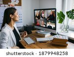 video conferencing. young woman ... | Shutterstock . vector #1879948258