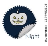 pumpkin sticker for halloween... | Shutterstock . vector #1879953805