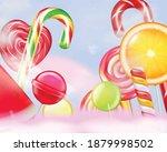 lollypops striped swirl heart... | Shutterstock .eps vector #1879998502