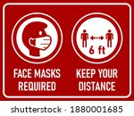 face masks required and keep... | Shutterstock .eps vector #1880001685