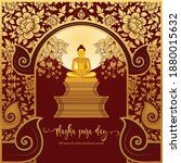 magha puja day banner with gold ...   Shutterstock .eps vector #1880015632