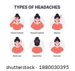 set types of headaches. flat... | Shutterstock .eps vector #1880030395