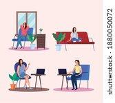 women sitting doing activities... | Shutterstock .eps vector #1880050072