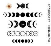 black moon phase logo set. boho ...   Shutterstock .eps vector #1880055208