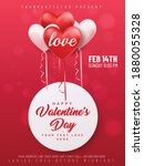 valentines day sale poster with ... | Shutterstock .eps vector #1880055328