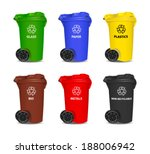 Set Of Colorful Recycling Bins...