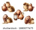 Old Ceramic Jugs And Pots Set....