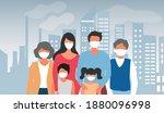 family wearing face masks tor... | Shutterstock .eps vector #1880096998
