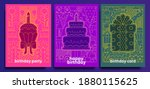 birthday cards and posters. set ... | Shutterstock .eps vector #1880115625