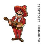 mexican playing the guitar... | Shutterstock .eps vector #1880118352