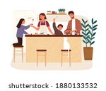 happy family cooking dinner... | Shutterstock .eps vector #1880133532