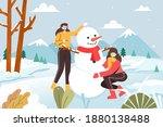 girls making snowmen in the...   Shutterstock . vector #1880138488