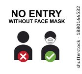 no entry without face mask or...   Shutterstock .eps vector #1880166532