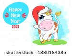 vector ox. hand drawn cute cow. ... | Shutterstock .eps vector #1880184385