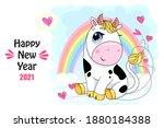 vector ox. hand drawn cute cow. ... | Shutterstock .eps vector #1880184388