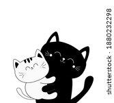 Cat Holding Kitten. Hugging...