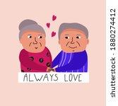 vector postcard   old people... | Shutterstock .eps vector #1880274412