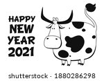 vector ox. hand drawn cute cow. ... | Shutterstock .eps vector #1880286298