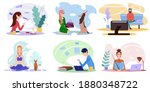 people stay at home. quarantine ... | Shutterstock .eps vector #1880348722
