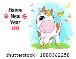 vector ox. hand drawn cute cow. ... | Shutterstock .eps vector #1880362258
