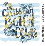 cute caribbean beach club... | Shutterstock .eps vector #1880389552