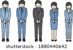 men and women bowing in suits   Shutterstock .eps vector #1880440642