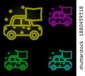 car dry carwash neon color set...