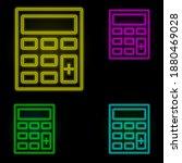 calculator neon color set icon. ...