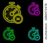 stopwatch neon color set icon....
