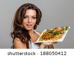 beautiful young chef woman... | Shutterstock . vector #188050412