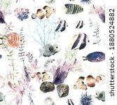 cartoon fishes seamless pattern ... | Shutterstock .eps vector #1880524882