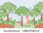 young woman in red dress and... | Shutterstock .eps vector #1880558215