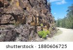 Small photo of The Convict Trail Great North Road Historical Site at Wisemans Ferry New South Wales, Australia. The remains of a convict built road linking Sydney to Newcastle Drystone buttress and culverts
