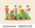 organic farming concept. eco... | Shutterstock .eps vector #1880633158