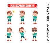 cute little kid boy in various...   Shutterstock .eps vector #1880759332