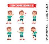 cute little kid boy in various... | Shutterstock .eps vector #1880759335