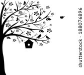 Birds And Birdhouse On Tree...