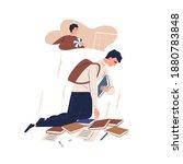 upset guy dreaming to play... | Shutterstock .eps vector #1880783848