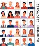 set of avatars in flat design.... | Shutterstock .eps vector #1880793682