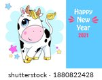 vector ox. hand drawn cute cow. ... | Shutterstock .eps vector #1880822428