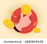 the hand of the point man... | Shutterstock .eps vector #1880849638