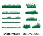 set of green lawns. collection...   Shutterstock .eps vector #1880928058